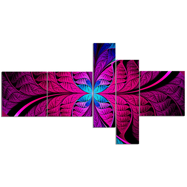 Designart Bright Pink Fractal Stained Glass Multipanel Abstract Canvas Art Print - 5 Panels