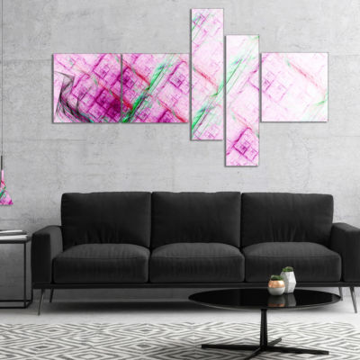 Designart Purple Fractal Grill Pattern MultipanelAbstract Art On Canvas - 5 Panels