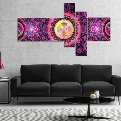 Designart Bright Pink Psychedelic Relaxing Art Multipanel Abstract Canvas Art Print - 5 Panels