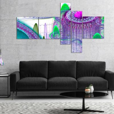 Designart Purple Fractal Infinite World MultipanelAbstract Art On Canvas - 5 Panels