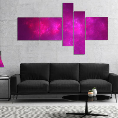 Designart Bright Pink Starry Fractal Sky Multipanel Abstract Canvas Art Print - 5 Panels