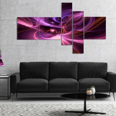 Designart Purple Fractal Light Art In Dark Multipanel Abstract Canvas Art Print - 5 Panels