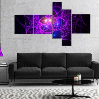 Designart Bright Purple Fractal Cobweb MultipanelAbstract Canvas Art Print - 5 Panels