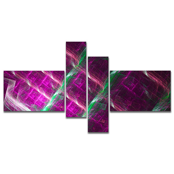 Designart Purple Fractal Metal Grill Multipanel Abstract Wall Art Canvas - 4 Panels