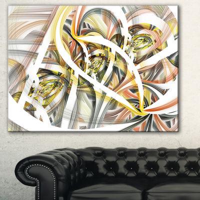 Designart Symmetrical Spiral Fractal Flowers Contemporary Print On Canvas - 3 Panels