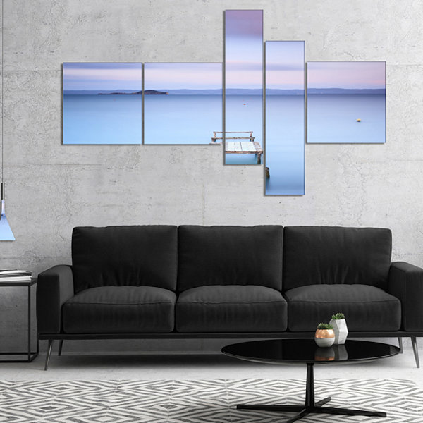 Designart Bright Purple Sky Multipanel Seascape Canvas Art Print - 5 Panels