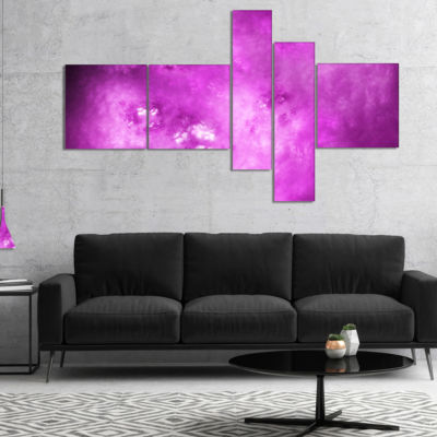 Designart Bright Purple Sky With Stars MultipanelAbstract Canvas Art Print - 4 Panels