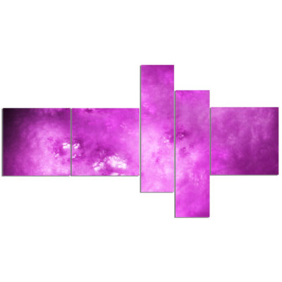 Designart Bright Purple Sky With Stars MultipanelAbstract Canvas Art Print - 5 Panels