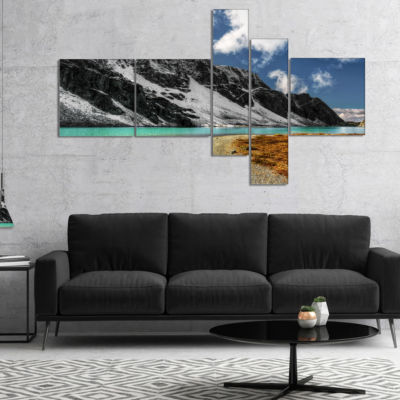 Designart Bright Sky And Blue Mountain Lake Multipanel Landscape Canvas Art Print - 4 Panels
