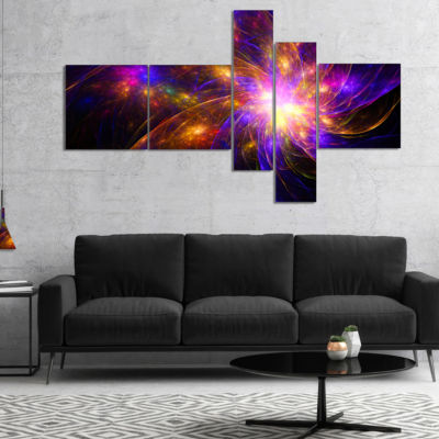 Designart Purple Fractal Star Pattern MultipanelAbstract Canvas Art Print - 5 Panels