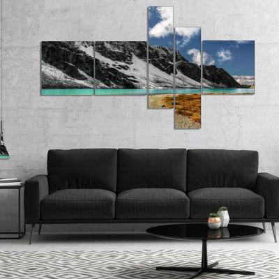 Designart Bright Sky And Blue Mountain Lake Multipanel Landscape Canvas Art Print - 5 Panels