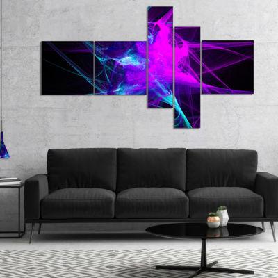 Designart Purple Glowing Ball Of Smoke MultipanelAbstract Canvas Art Print - 4 Panels