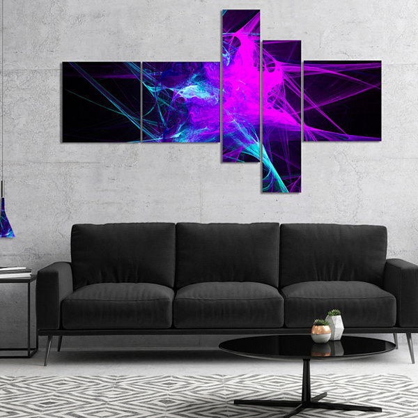 Designart Purple Glowing Ball Of Smoke MultipanelAbstract Canvas Art Print - 5 Panels