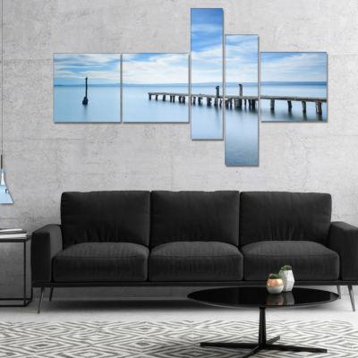 Designart Bright Sky And Blue Sea Multipanel Seascape Canvas Art Print - 5 Panels