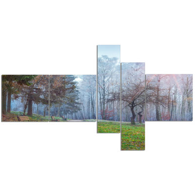 Designart Bright Sun Over Autumn Trees MultipanelLandscape Canvas Art Print - 5 Panels