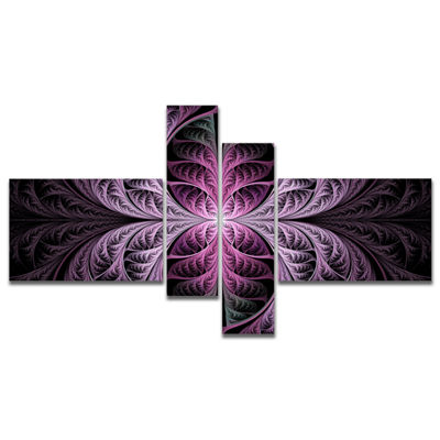 Designart Purple Glowing Fractal Stained Glass Multipanel Abstract Canvas Art Print - 4 Panels
