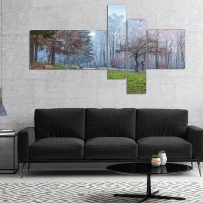 Designart Bright Sun Over Autumn Trees MultipanelLarge Landscape Canvas Art Print - 4 Panels