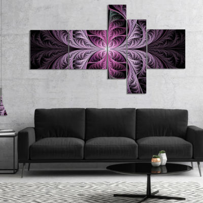 Designart Purple Glowing Fractal Stained Glass Multipanel Abstract Canvas Art Print - 5 Panels