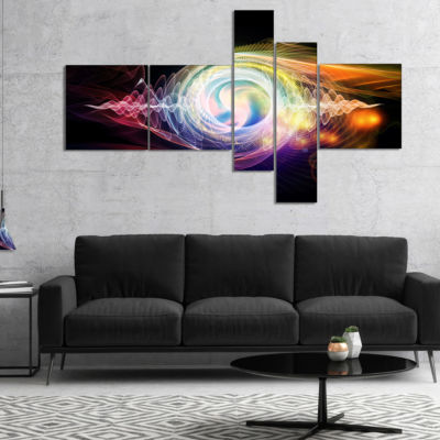Design Art Bright Wave Particle In Air On Black Multipanel Abstract Canvas Wall Art - 5 Panels