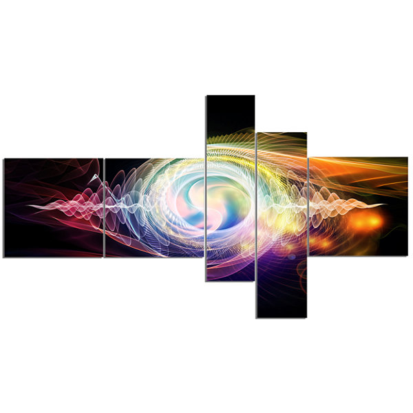 Designart Bright Wave Particle In Air On Black Multipanel Abstract Canvas Wall Art - 5 Panels
