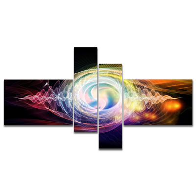 Designart Bright Wave Particle In Air On Black Multipanel Large Abstract Canvas Wall Art - 4 Panels
