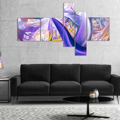 Designart Purple Gold Fractal Plant Stems Multipanel Abstract Canvas Art Print - 5 Panels