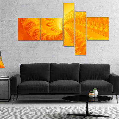 Designart Bright Yellow Abyss Multipanel AbstractCanvas Art Print - 4 Panels