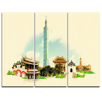 Designart Taipei Panoramic View Cityscape Watercolor Canvas Print - 3 Panels