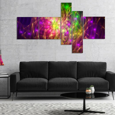 Designart Purple Green Symphony Of Colors Multipanel Abstract Wall Art Canvas - 4 Panels