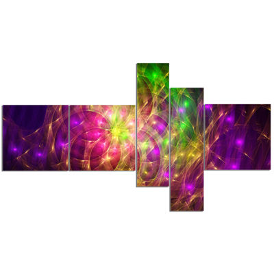 Designart Purple Green Symphony Of Colors Multipanel Abstract Wall Art Canvas - 5 Panels
