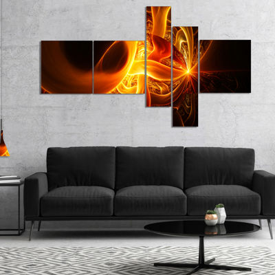 Designart Bright Yellow Designs On Black Multipanel Abstract Wall Art Canvas - 4 Panels
