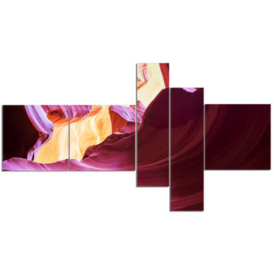 Designart Purple In Antelope Canyon Multipanel Landscape Photography Canvas Art Print - 5 Panels