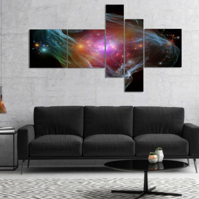 Designart Purple Lights Of Network Multipanel Abstract Canvas Art Print - 5 Panels