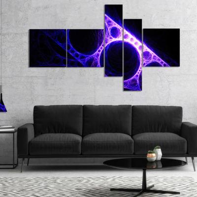 Designart Purple Metal Construction Multipanel Abstract Canvas Art Print - 4 Panels