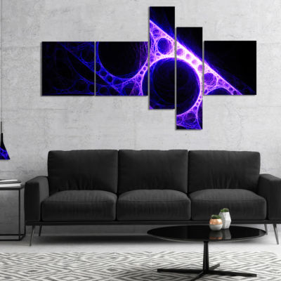 Designart Purple Metal Construction Multipanel Abstract Canvas Art Print - 5 Panels