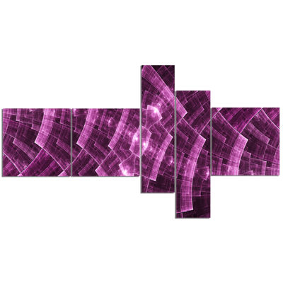 Designart Purple Metal Protective Grids MultipanelAbstract Wall Art Canvas - 5 Panels