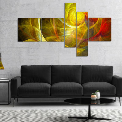 Designart Bright Yellow Stormy Sky Multipanel Abstract Canvas Art Print - 5 Panels