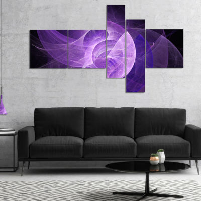 Designart Purple Mystic Psychedelic Design Multipanel Abstract Art On Canvas - 5 Panels