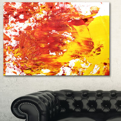 Designart Textured Red And Yellow Art Abstract Canvas Print
