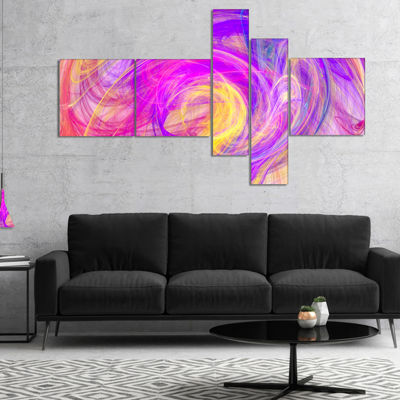 Designart Purple Mystic Psychedelic Texture Multipanel Abstract Art On Canvas - 5 Panels