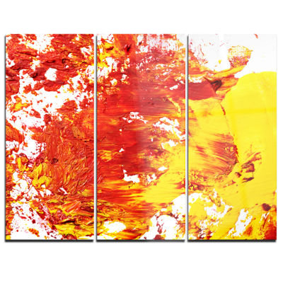 Designart Textured Red And Yellow Art Abstract Canvas Print - 3 Panels