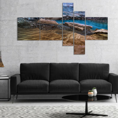 Design Art Brilliant Turquoise Melt Pool MultipanelLandscape Canvas Art Print - 4 Panels