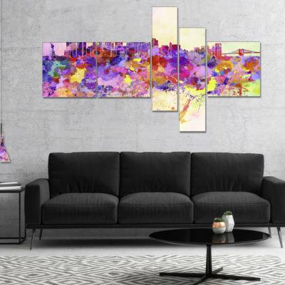 Designart Purple New York Skyline Multipanel Cityscape Canvas Art Print - 5 Panels