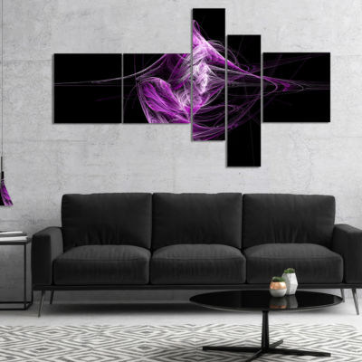 Designart Purple On Black Fractal Illustration Multipanel Abstract Canvas Art Print - 5 Panels
