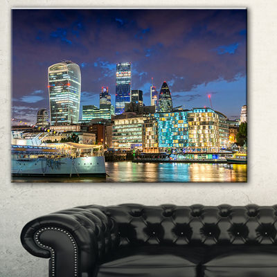 Designart Thames River At Night Cityscape Photography Canvas Print - 3 Panels