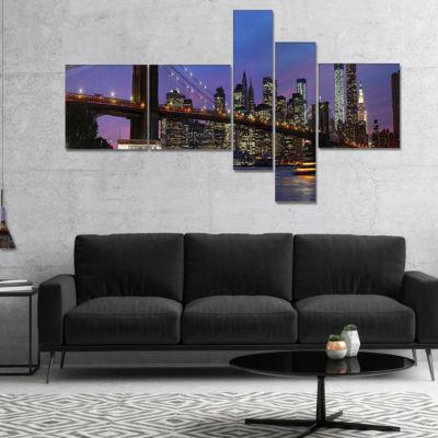 Designart Brooklyn Bridge And Manhattan At SunsetMultipanel Purple Multipanel Extra Large Canvas ArtPrint - 5 Panels