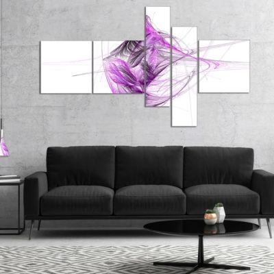 Designart Purple On White Fractal Illustration Multipanel Abstract Canvas Art Print - 4 Panels