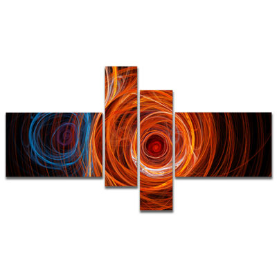 Designart Brown Abstract Fractal Circles Multipanel Abstract Canvas Art Print - 4 Panels