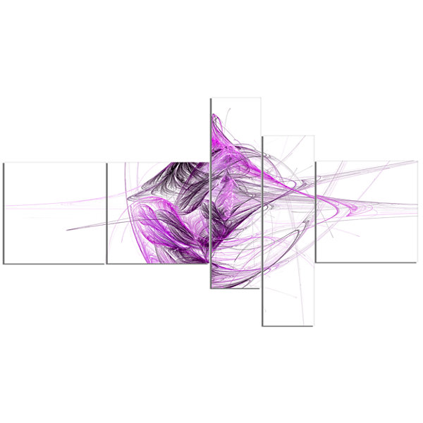 Designart Purple On White Fractal Illustration Multipanel Abstract Canvas Art Print - 5 Panels