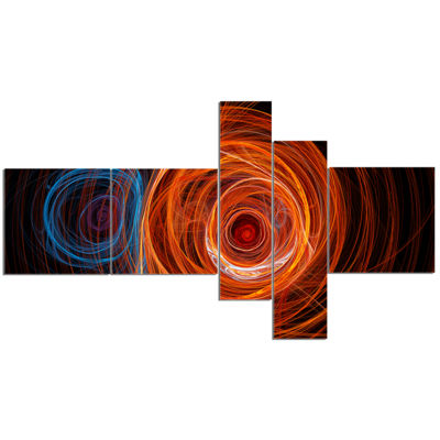 Designart Brown Abstract Fractal Circles Multipanel Abstract Canvas Art Print - 5 Panels
